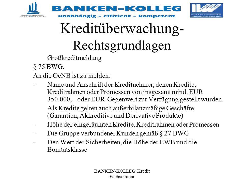 BANKEN-KOLLEG: Kredit Fachseminar Kreditüberwachung- Rechtsgrundlagen Großkreditmeldung § 75 BWG: An die OeNB ist zu melden: - Name und Anschrift der