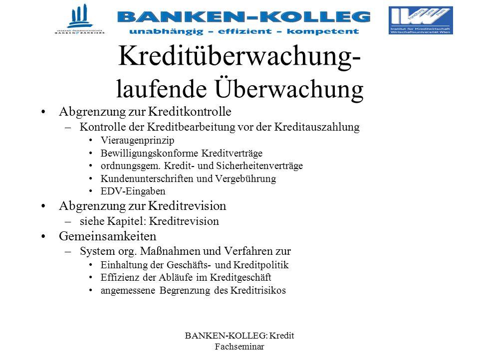 BANKEN-KOLLEG: Kredit Fachseminar Kreditüberwachung- laufende Überwachung Abgrenzung zur Kreditkontrolle –Kontrolle der Kreditbearbeitung vor der Kred