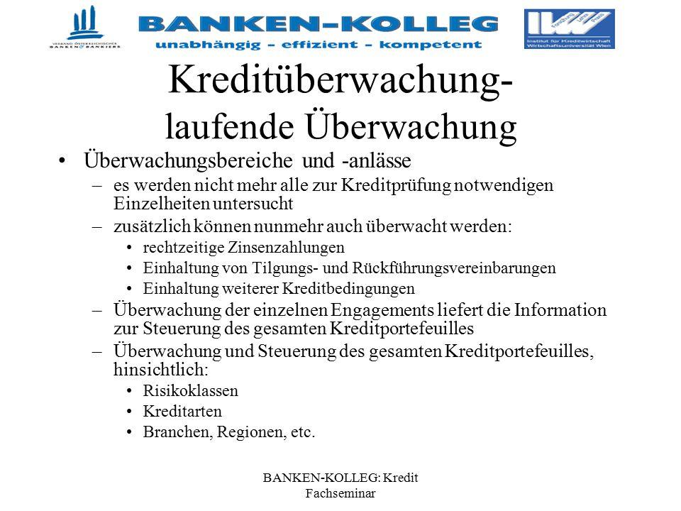 BANKEN-KOLLEG: Kredit Fachseminar Kreditüberwachung- laufende Überwachung Überwachungsbereiche und -anlässe –es werden nicht mehr alle zur Kreditprüfu
