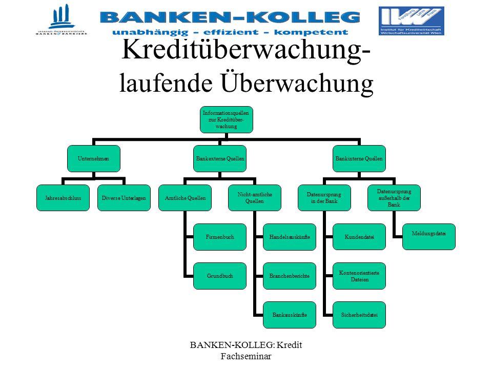 BANKEN-KOLLEG: Kredit Fachseminar Kreditüberwachung- laufende Überwachung Informationsquellen zur Kreditüber- wachung Unternehmen JahresabschlussDiver