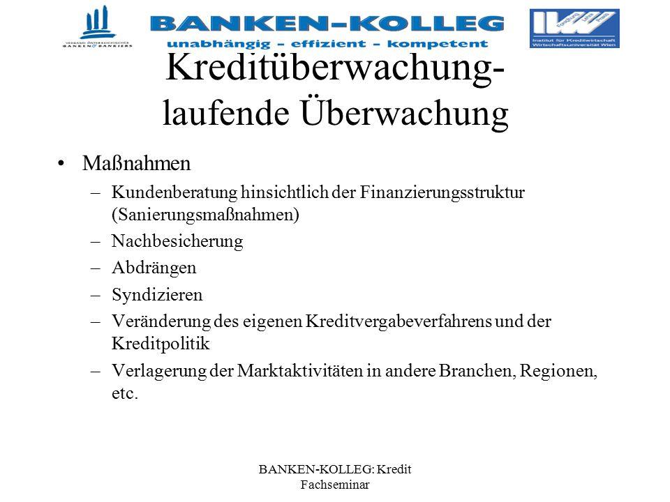 BANKEN-KOLLEG: Kredit Fachseminar Kreditüberwachung- laufende Überwachung Maßnahmen –Kundenberatung hinsichtlich der Finanzierungsstruktur (Sanierungs