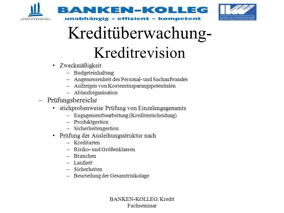 BANKEN-KOLLEG: Kredit Fachseminar Kreditüberwachung- Kreditrevision Zweckmäßigkeit –Budgeteinhaltung –Angemessenheit des Personal- und Sachaufwandes –