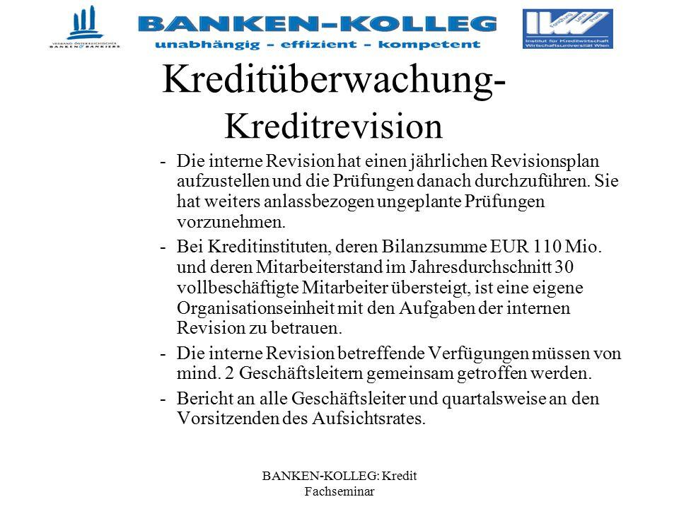 BANKEN-KOLLEG: Kredit Fachseminar Kreditüberwachung- Kreditrevision -Die interne Revision hat einen jährlichen Revisionsplan aufzustellen und die Prüf