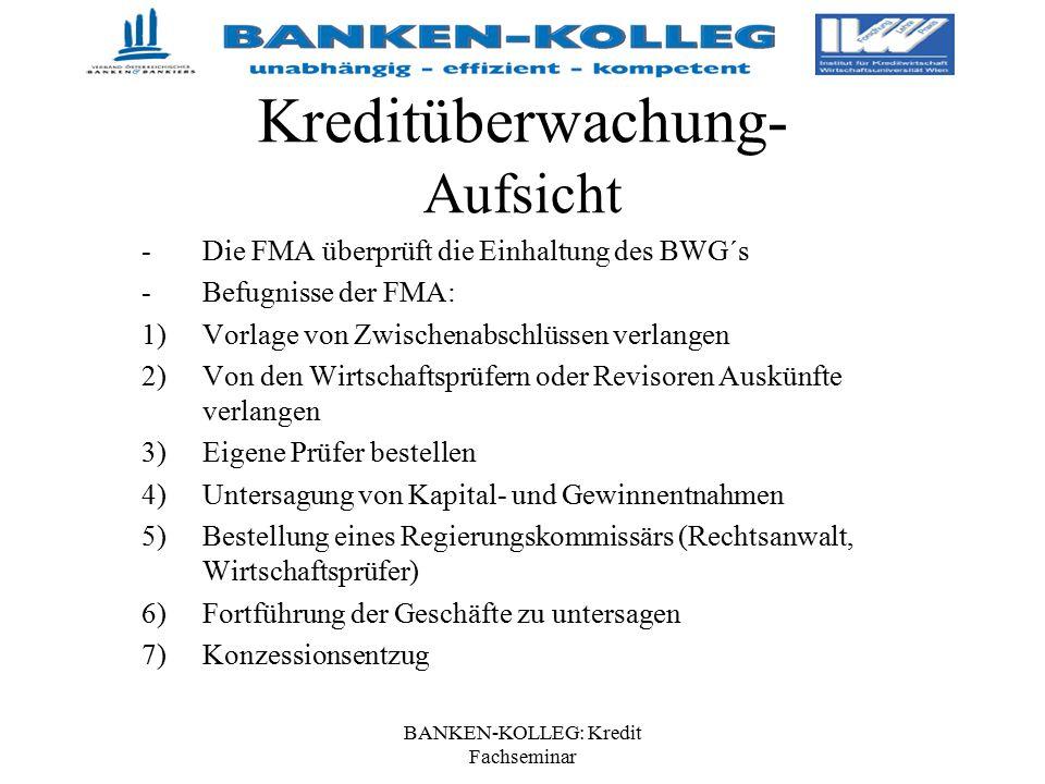 BANKEN-KOLLEG: Kredit Fachseminar Kreditüberwachung- Aufsicht -Die FMA überprüft die Einhaltung des BWG´s -Befugnisse der FMA: 1)Vorlage von Zwischena