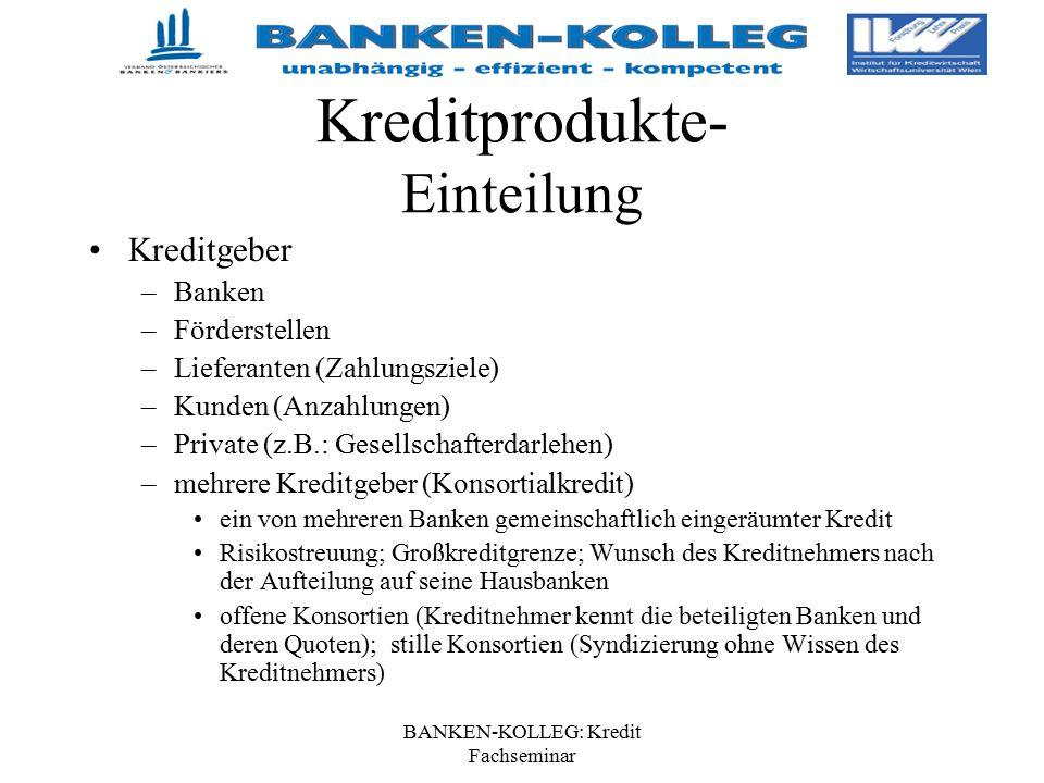 BANKEN-KOLLEG: Kredit Fachseminar Kreditprodukte- Einteilung Kreditgeber –Banken –Förderstellen –Lieferanten (Zahlungsziele) –Kunden (Anzahlungen) –Pr