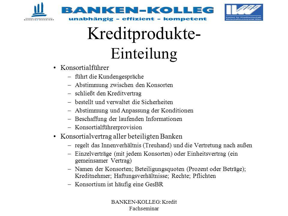 BANKEN-KOLLEG: Kredit Fachseminar Kreditprodukte- Einteilung Konsortialführer –führt die Kundengespräche –Abstimmung zwischen den Konsorten –schließt