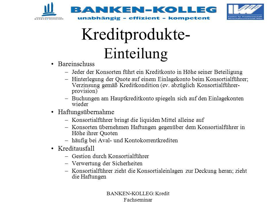 BANKEN-KOLLEG: Kredit Fachseminar Kreditprodukte- Einteilung Bareinschuss –Jeder der Konsorten führt ein Kreditkonto in Höhe seiner Beteiligung –Hinte