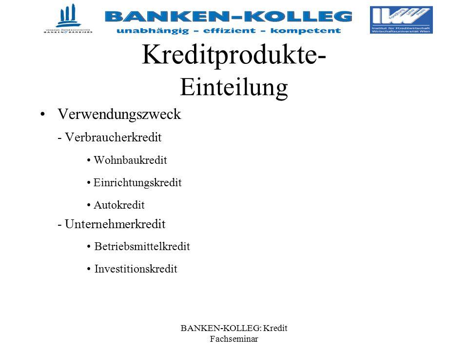 BANKEN-KOLLEG: Kredit Fachseminar Kreditprodukte- Einteilung Verwendungszweck - Verbraucherkredit Wohnbaukredit Einrichtungskredit Autokredit - Untern
