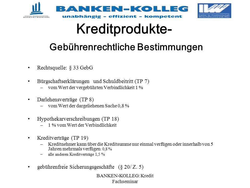 BANKEN-KOLLEG: Kredit Fachseminar Rechtsquelle: § 33 GebG Bürgschaftserklärungen und Schuldbeitritt (TP 7) –vom Wert der vergebührten Verbindlichkeit