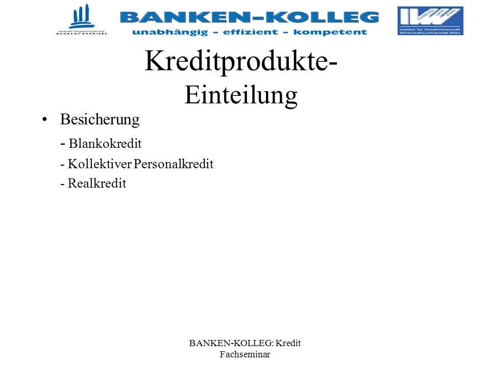 BANKEN-KOLLEG: Kredit Fachseminar Kreditprodukte- Einteilung Besicherung - Blankokredit - Kollektiver Personalkredit - Realkredit