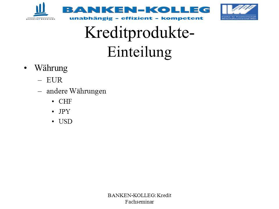 BANKEN-KOLLEG: Kredit Fachseminar Kreditprodukte- Einteilung Währung –EUR –andere Währungen CHF JPY USD