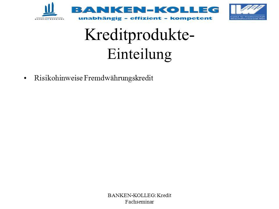 Kreditprodukte- Einteilung Risikohinweise Fremdwährungskredit