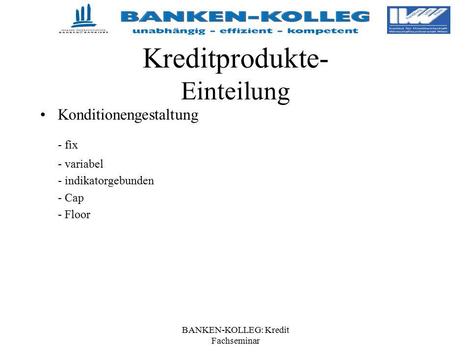 BANKEN-KOLLEG: Kredit Fachseminar Kreditprodukte- Einteilung Konditionengestaltung - fix - variabel - indikatorgebunden - Cap - Floor