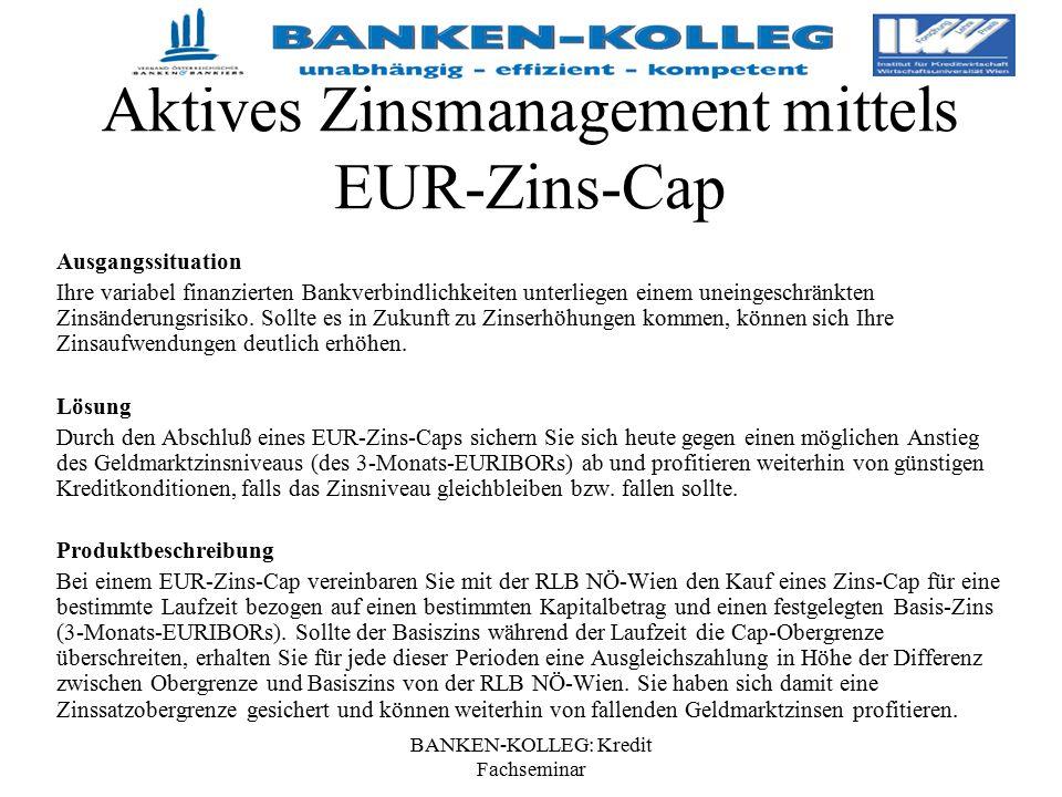 BANKEN-KOLLEG: Kredit Fachseminar Aktives Zinsmanagement mittels EUR-Zins-Cap Ausgangssituation Ihre variabel finanzierten Bankverbindlichkeiten unter