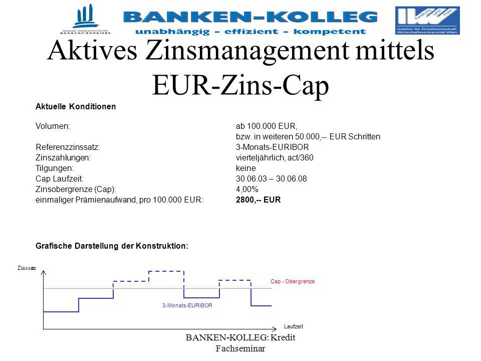 BANKEN-KOLLEG: Kredit Fachseminar Aktives Zinsmanagement mittels EUR-Zins-Cap Aktuelle Konditionen Volumen:ab 100.000 EUR, bzw. in weiteren 50.000,--