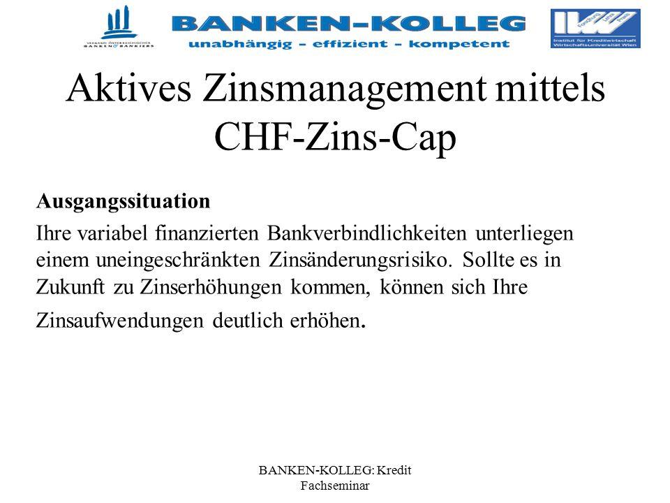 BANKEN-KOLLEG: Kredit Fachseminar Aktives Zinsmanagement mittels CHF-Zins-Cap Ausgangssituation Ihre variabel finanzierten Bankverbindlichkeiten unter