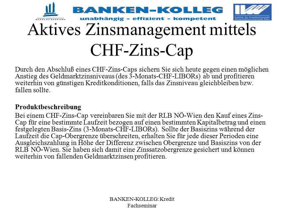 BANKEN-KOLLEG: Kredit Fachseminar Aktives Zinsmanagement mittels CHF-Zins-Cap Durch den Abschluß eines CHF-Zins-Caps sichern Sie sich heute gegen eine