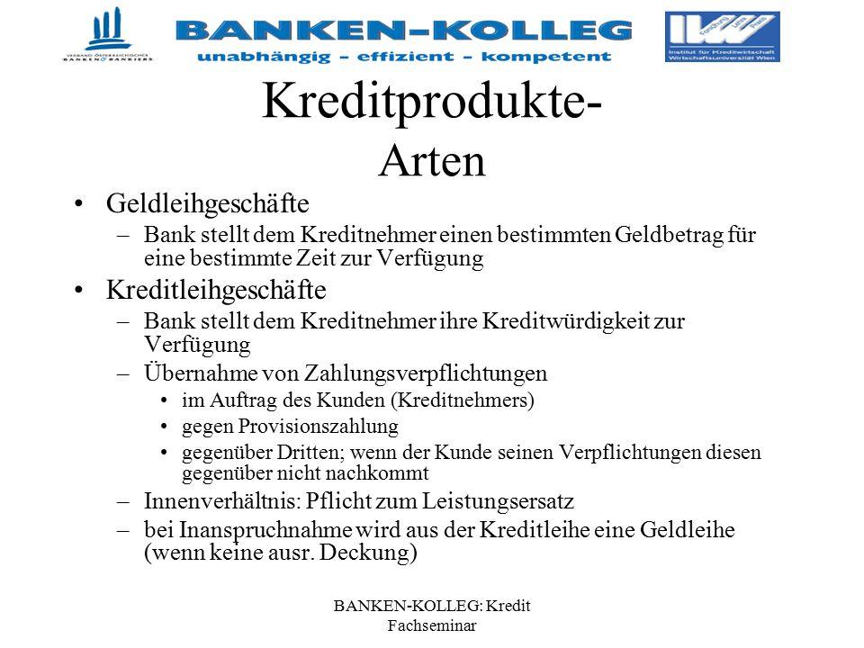 BANKEN-KOLLEG: Kredit Fachseminar Kreditprodukte- Arten Geldleihgeschäfte –Bank stellt dem Kreditnehmer einen bestimmten Geldbetrag für eine bestimmte