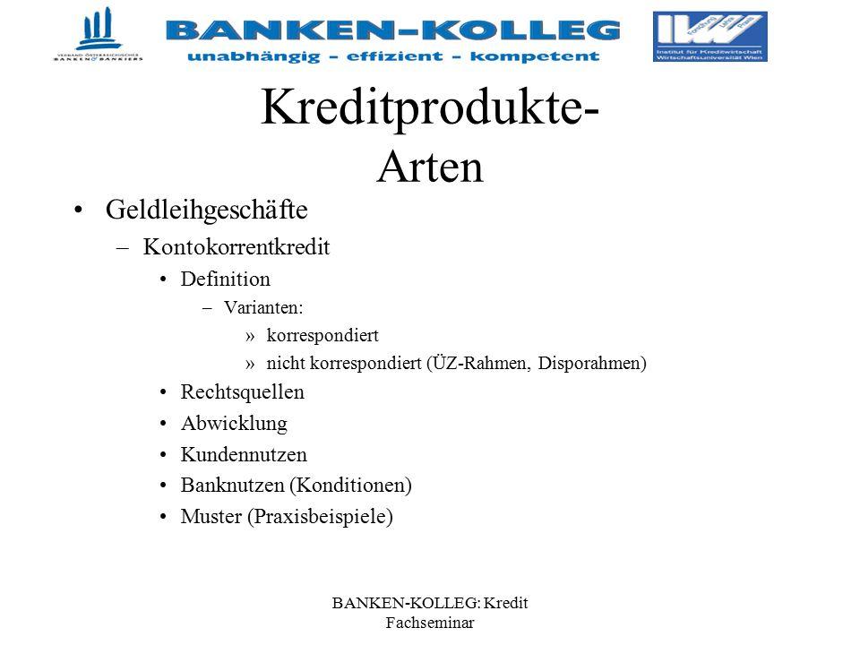 BANKEN-KOLLEG: Kredit Fachseminar Kreditprodukte- Arten Geldleihgeschäfte –Kontokorrentkredit Definition –Varianten: »korrespondiert »nicht korrespond