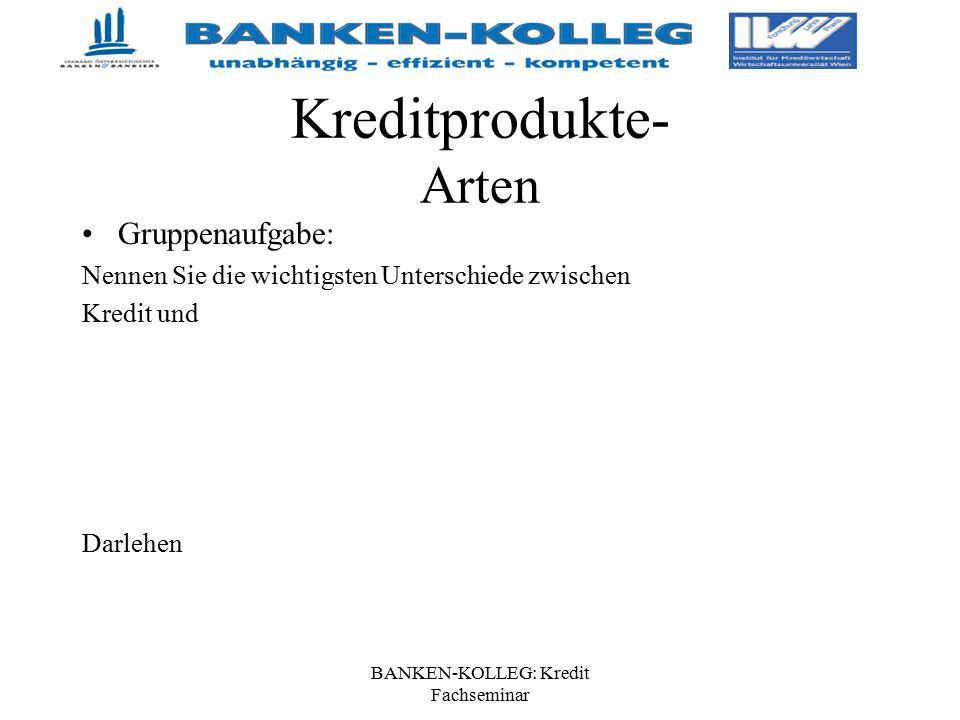 BANKEN-KOLLEG: Kredit Fachseminar Kreditprodukte- Arten Gruppenaufgabe: Nennen Sie die wichtigsten Unterschiede zwischen Kredit und Darlehen