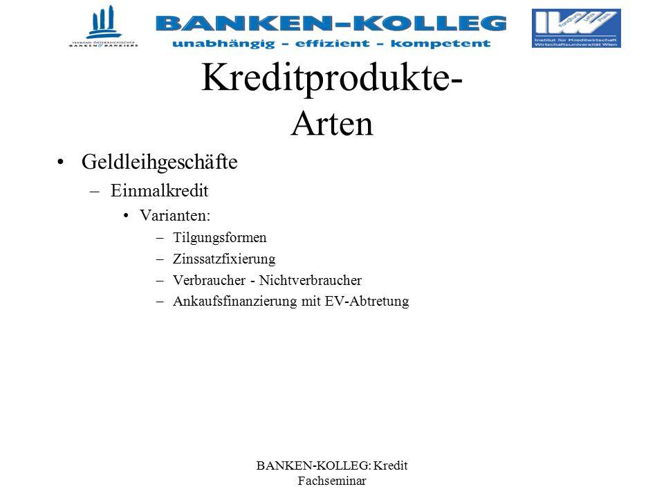 BANKEN-KOLLEG: Kredit Fachseminar Kreditprodukte- Arten Geldleihgeschäfte –Einmalkredit Varianten: –Tilgungsformen –Zinssatzfixierung –Verbraucher - N