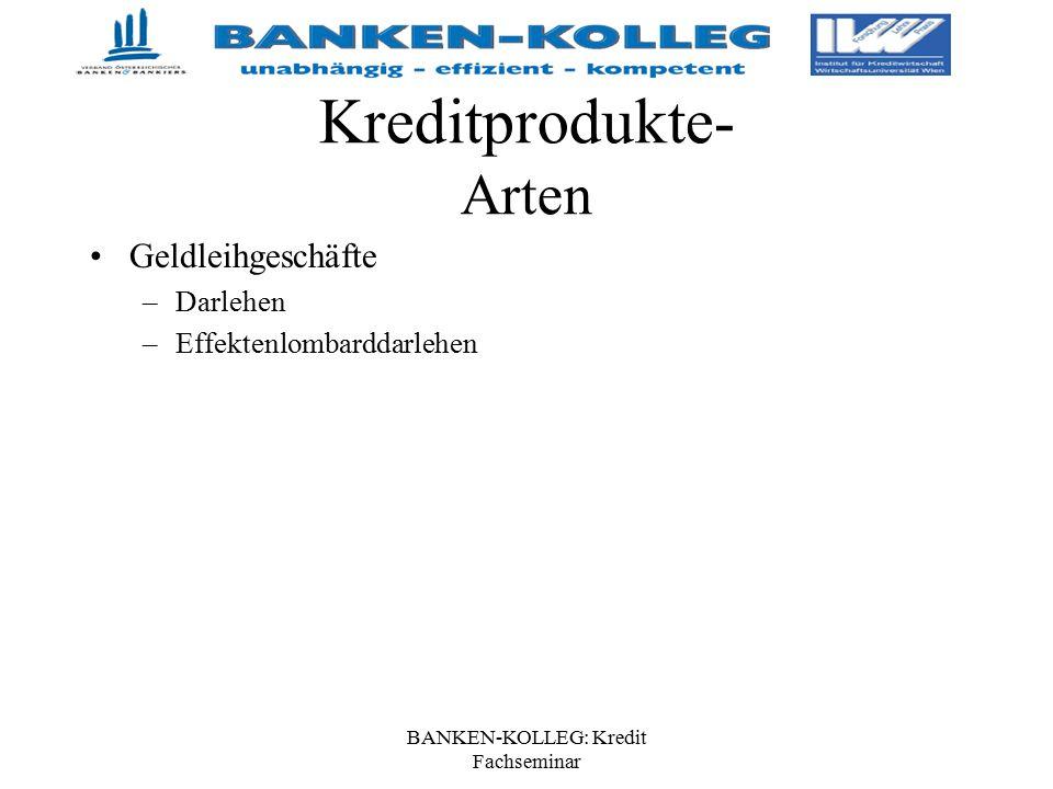 BANKEN-KOLLEG: Kredit Fachseminar Kreditprodukte- Arten Geldleihgeschäfte –Darlehen –Effektenlombarddarlehen