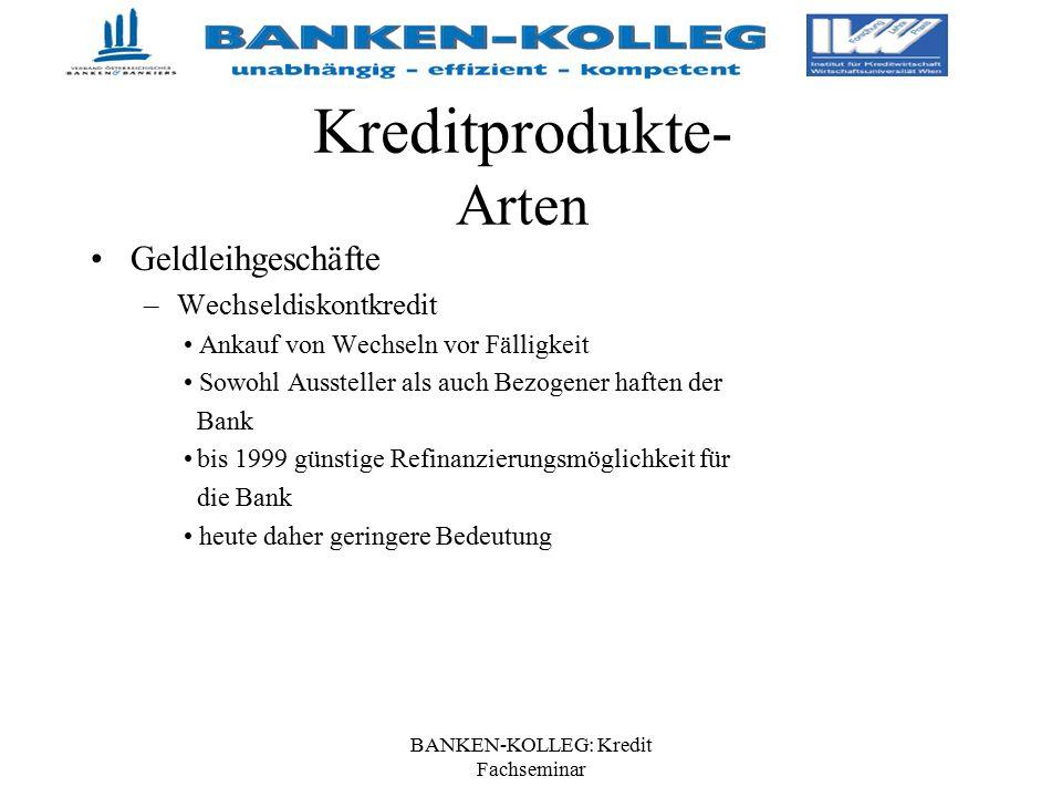 BANKEN-KOLLEG: Kredit Fachseminar Kreditprodukte- Arten Geldleihgeschäfte –Wechseldiskontkredit Ankauf von Wechseln vor Fälligkeit Sowohl Aussteller a