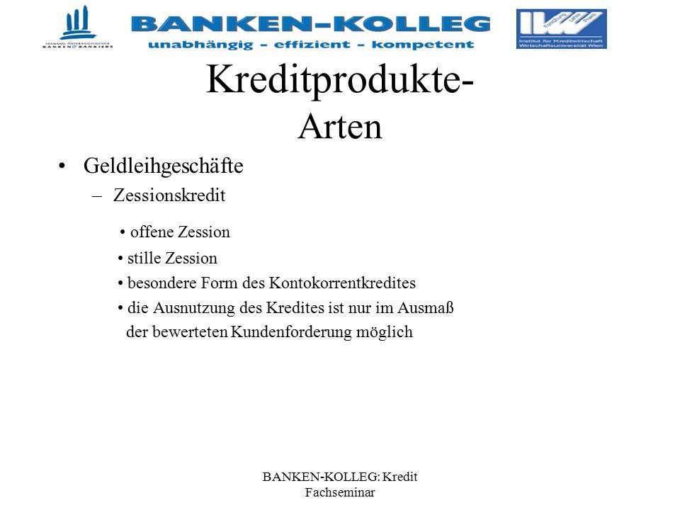 BANKEN-KOLLEG: Kredit Fachseminar Kreditprodukte- Arten Geldleihgeschäfte –Zessionskredit offene Zession stille Zession besondere Form des Kontokorren