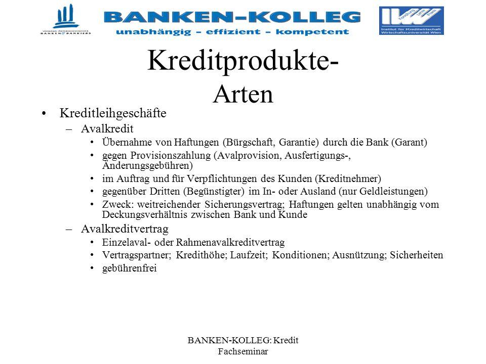BANKEN-KOLLEG: Kredit Fachseminar Kreditprodukte- Arten Kreditleihgeschäfte –Avalkredit Übernahme von Haftungen (Bürgschaft, Garantie) durch die Bank