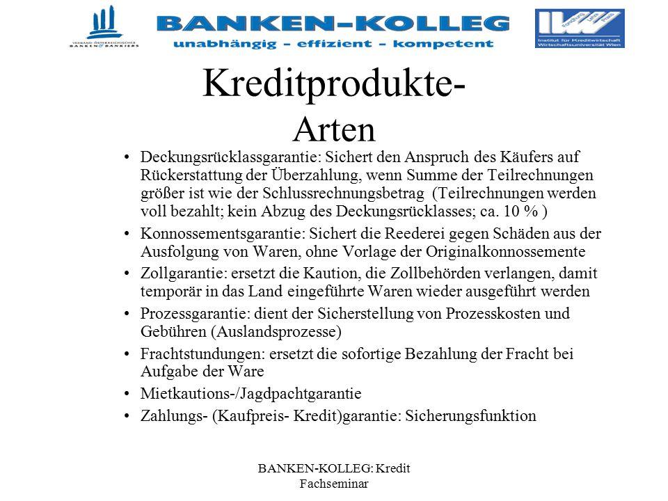 BANKEN-KOLLEG: Kredit Fachseminar Kreditprodukte- Arten Deckungsrücklassgarantie: Sichert den Anspruch des Käufers auf Rückerstattung der Überzahlung,