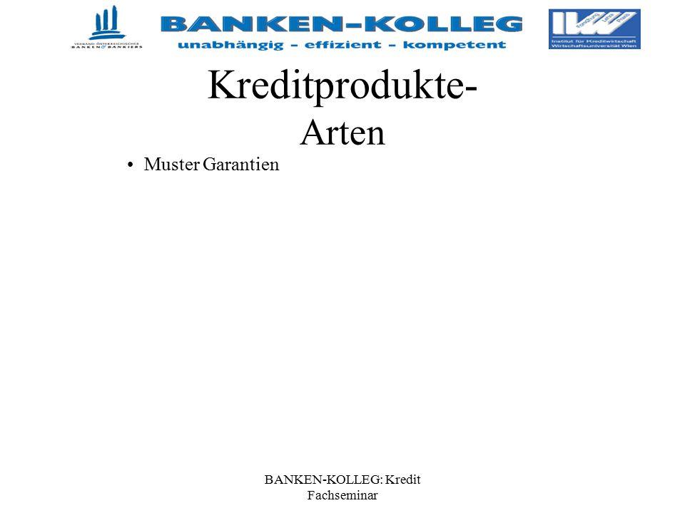 BANKEN-KOLLEG: Kredit Fachseminar Kreditprodukte- Arten Muster Garantien