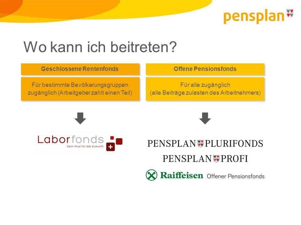 Wo kann ich beitreten? Geschlossene Rentenfonds Offene Pensionsfonds Für bestimmte Bevölkerungsgruppen zugänglich (Arbeitgeber zahlt einen Teil) Für a