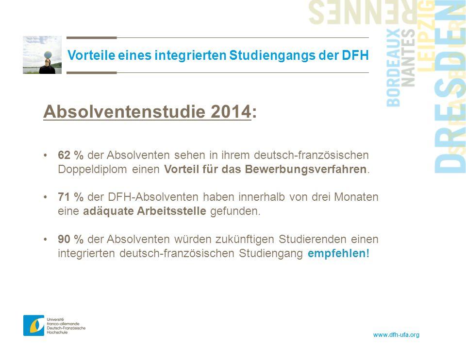 www.dfh-ufa.org Vorteile eines integrierten Studiengangs der DFH Absolventenstudie 2014: 62 % der Absolventen sehen in ihrem deutsch-französischen Dop