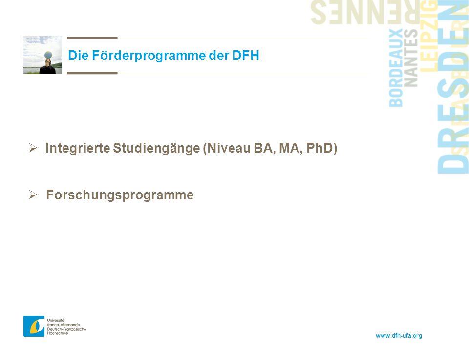 www.dfh-ufa.org Die Förderprogramme der DFH  Integrierte Studiengänge (Niveau BA, MA, PhD)  Forschungsprogramme