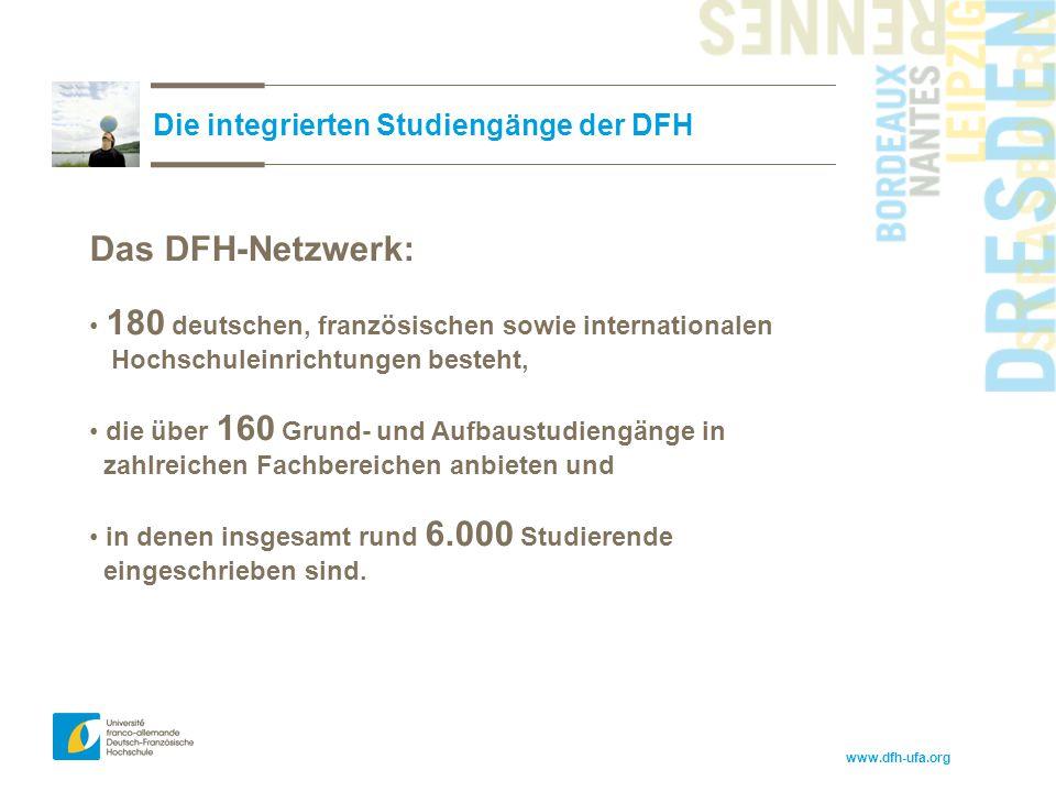 www.dfh-ufa.org Die integrierten Studiengänge der DFH Das DFH-Netzwerk: 180 deutschen, französischen sowie internationalen Hochschuleinrichtungen best