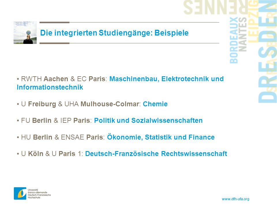 www.dfh-ufa.org Die integrierten Studiengänge: Beispiele RWTH Aachen & EC Paris: Maschinenbau, Elektrotechnik und Informationstechnik U Freiburg & UHA