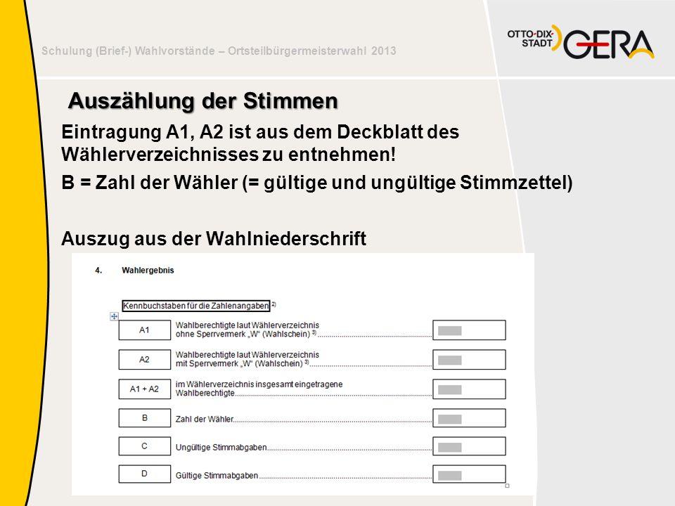 Schulung der Wahlvorstände – Susanne Sothen, Gera Schulung (Brief-) Wahlvorstände – Ortsteilbürgermeisterwahl 2013 Auszählung der Stimmen Eintragung A1, A2 ist aus dem Deckblatt des Wählerverzeichnisses zu entnehmen.