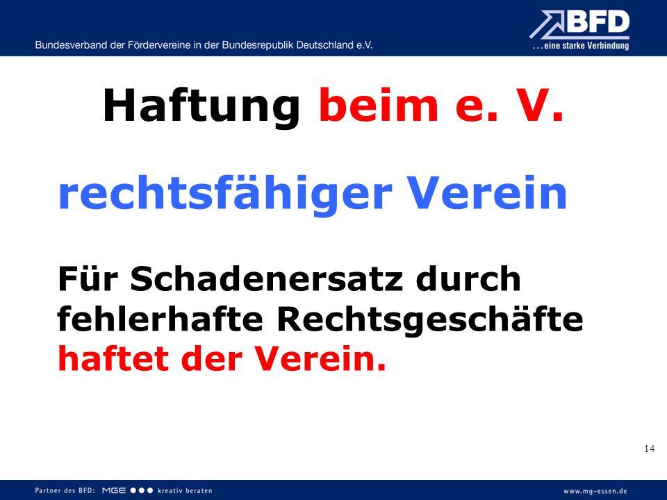 Haftung beim e. V. rechtsfähiger Verein Für Schadenersatz durch fehlerhafte Rechtsgeschäfte haftet der Verein. 14