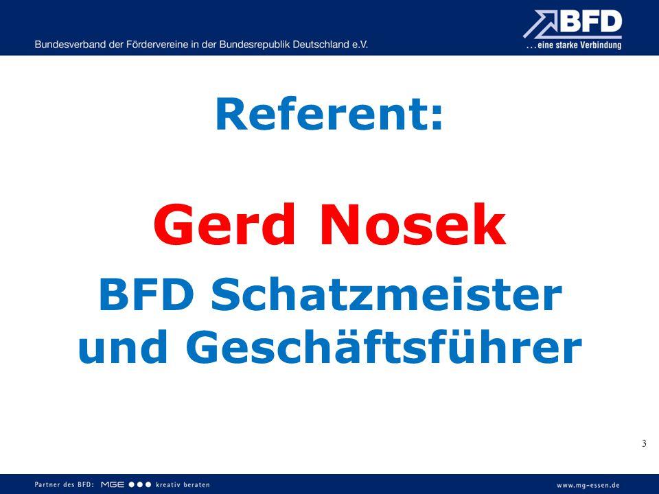 Referent: Gerd Nosek BFD Schatzmeister und Geschäftsführer 3