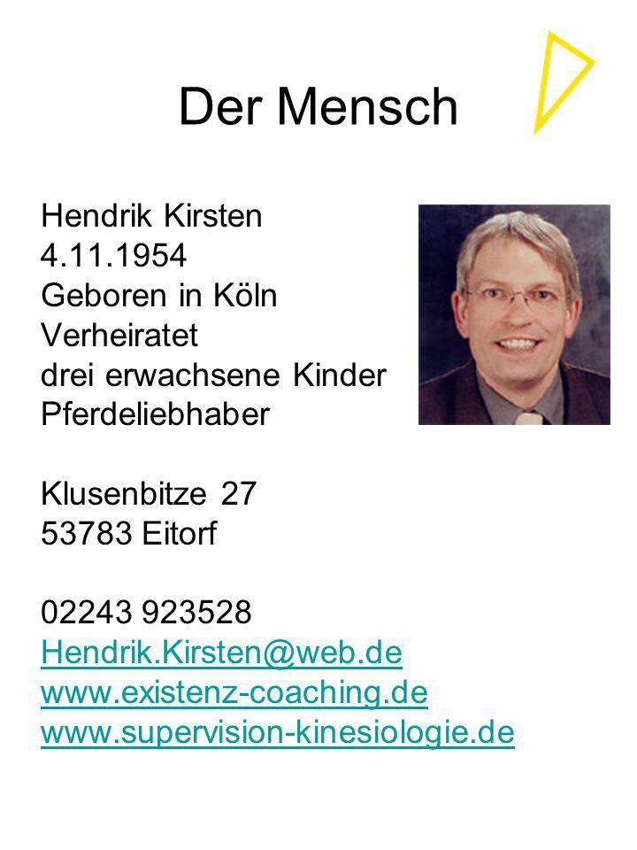 Der Mensch Hendrik Kirsten 4.11.1954 Geboren in Köln Verheiratet drei erwachsene Kinder Pferdeliebhaber Klusenbitze 27 53783 Eitorf 02243 923528 Hendr