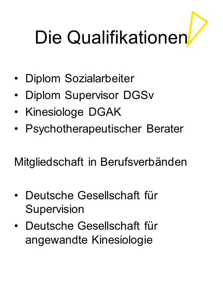 Die Qualifikationen Diplom Sozialarbeiter Diplom Supervisor DGSv Kinesiologe DGAK Psychotherapeutischer Berater Mitgliedschaft in Berufsverbänden Deut