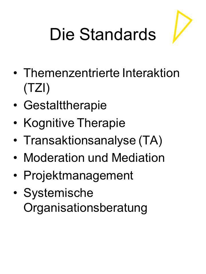 Die Standards Themenzentrierte Interaktion (TZI) Gestalttherapie Kognitive Therapie Transaktionsanalyse (TA) Moderation und Mediation Projektmanagemen