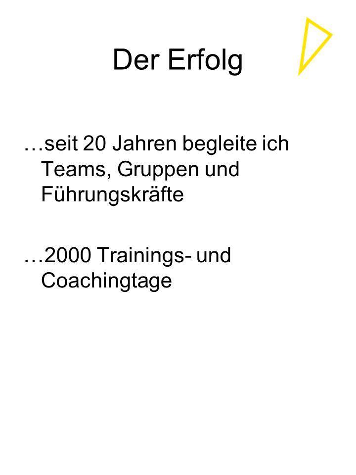 Der Erfolg …seit 20 Jahren begleite ich Teams, Gruppen und Führungskräfte …2000 Trainings- und Coachingtage