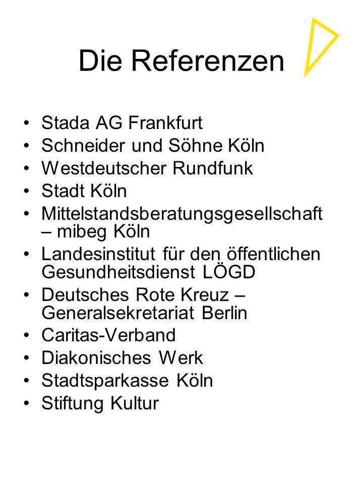 Die Referenzen Stada AG Frankfurt Schneider und Söhne Köln Westdeutscher Rundfunk Stadt Köln Mittelstandsberatungsgesellschaft – mibeg Köln Landesinst