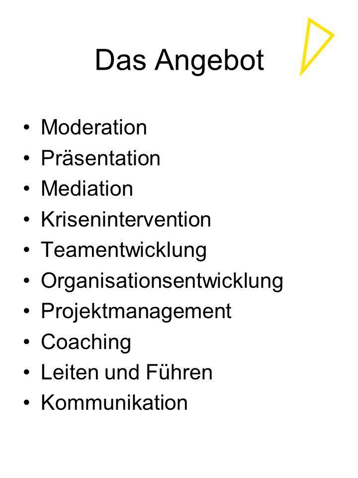 Das Angebot Moderation Präsentation Mediation Krisenintervention Teamentwicklung Organisationsentwicklung Projektmanagement Coaching Leiten und Führen