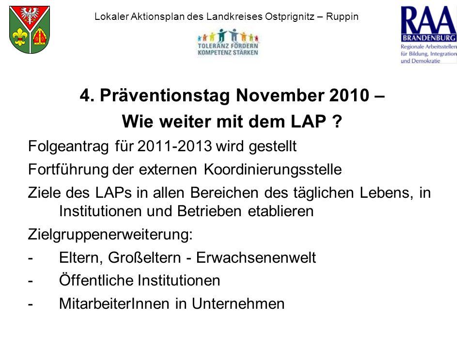 4. Präventionstag November 2010 – Wie weiter mit dem LAP ? Folgeantrag für 2011-2013 wird gestellt Fortführung der externen Koordinierungsstelle Ziele