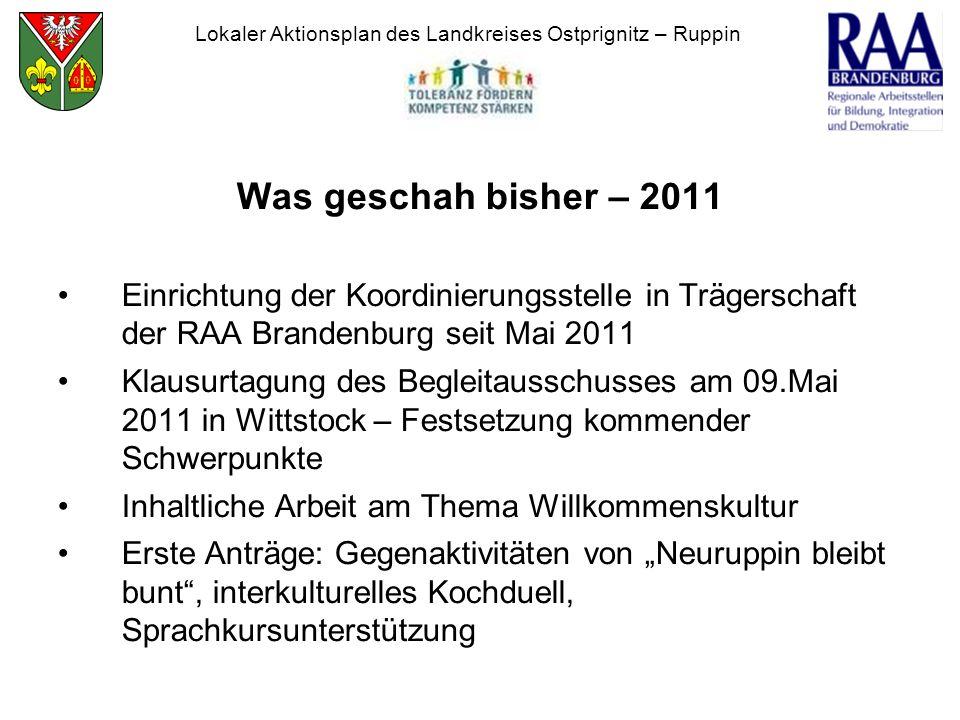 Was geschah bisher – 2011 Einrichtung der Koordinierungsstelle in Trägerschaft der RAA Brandenburg seit Mai 2011 Klausurtagung des Begleitausschusses