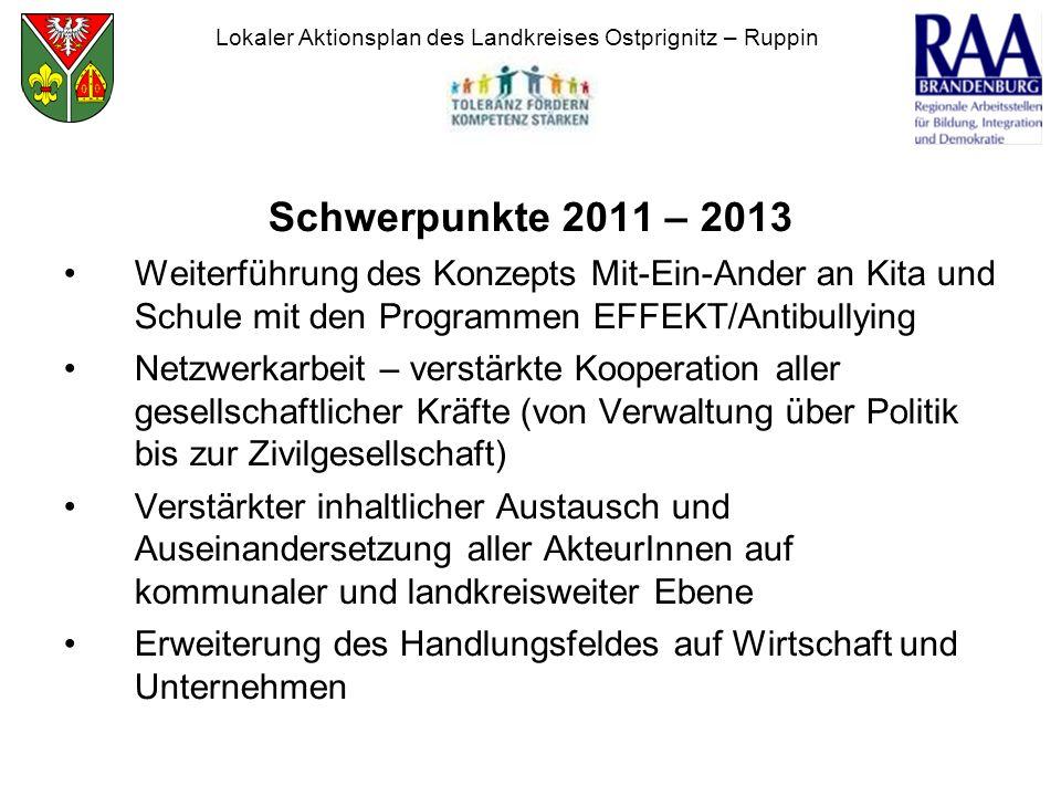 Schwerpunkte 2011 – 2013 Weiterführung des Konzepts Mit-Ein-Ander an Kita und Schule mit den Programmen EFFEKT/Antibullying Netzwerkarbeit – verstärkt