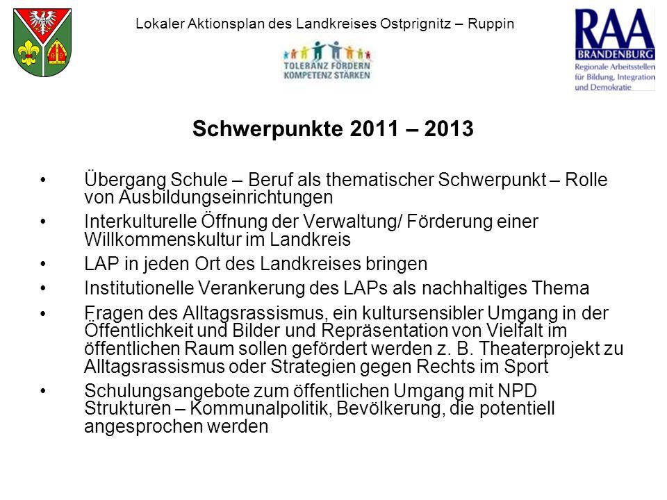 Schwerpunkte 2011 – 2013 Übergang Schule – Beruf als thematischer Schwerpunkt – Rolle von Ausbildungseinrichtungen Interkulturelle Öffnung der Verwalt