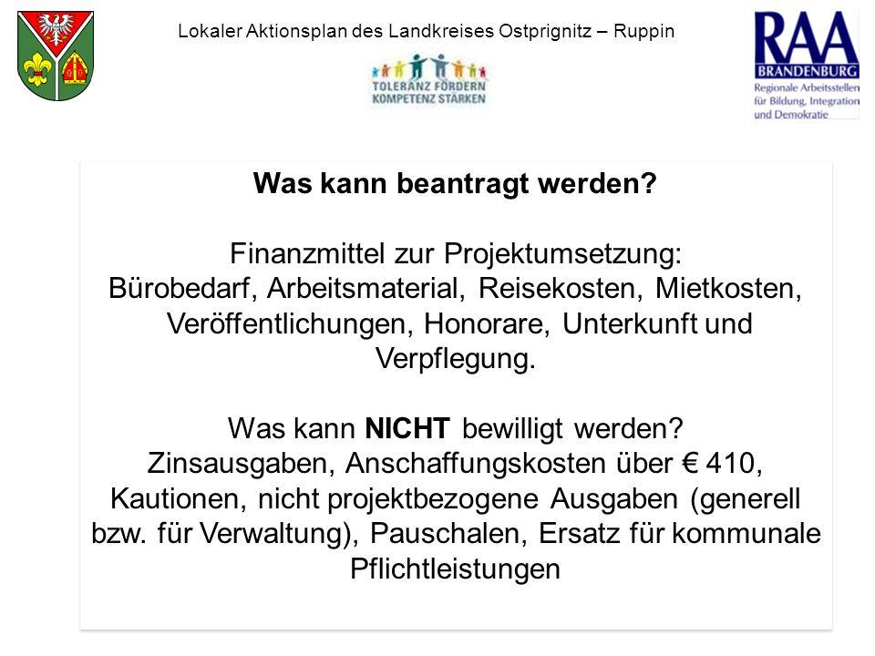Lokaler Aktionsplan des Landkreises Ostprignitz – Ruppin Was kann beantragt werden? Finanzmittel zur Projektumsetzung: Bürobedarf, Arbeitsmaterial, Re